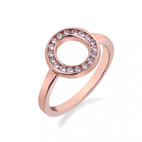 Stribrny Prsten Hot Diamonds Emozioni Saturno Rose Gold Nausnice Cz