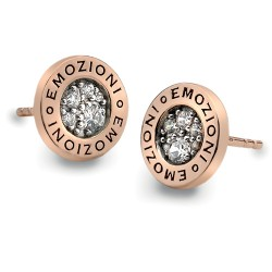 Stříbrné náušnice Hot Diamonds Emozioni Pianeta Rose Gold