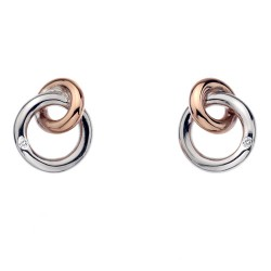 Stříbrné náušnice Hot Diamonds Eternity Interlocking Rose Gold Stud DE309