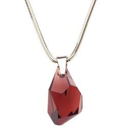 Stříbrný náhrdelník s krystalem Swarovski Polygon Burgundy