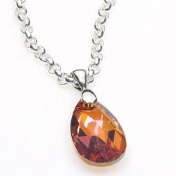 Stříbrný náhrdelník s krystalem Swarovski Pear Burgundy