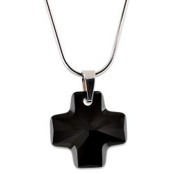 Stříbrný náhrdelník s krystalem Swarovski Cross Jet