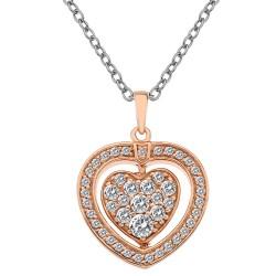 Stříbrný náhrdelník Hot Diamonds Turning Heart Rose Gold