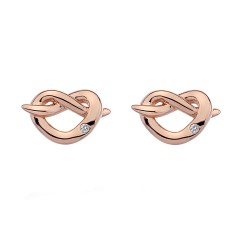 Stříbrné náušnice Hot Diamonds Infinity Heart Rose Gold