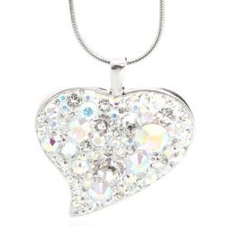 Náhrdelník s krystaly Swarovski Heart Rainbow Large
