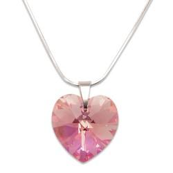 Stříbrný náhrdelník s krystalem Swarovski Light Rose