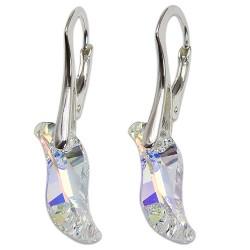 Stříbrné náušnice s krystalem Swarovski Wave Crystal