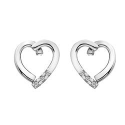Stříbrné náušnice Hot Diamonds Glide Heart