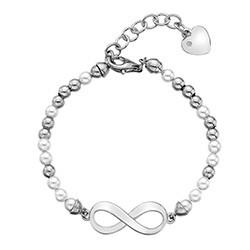 Stříbrný náramek Hot Diamonds Infinity Bead Pearl