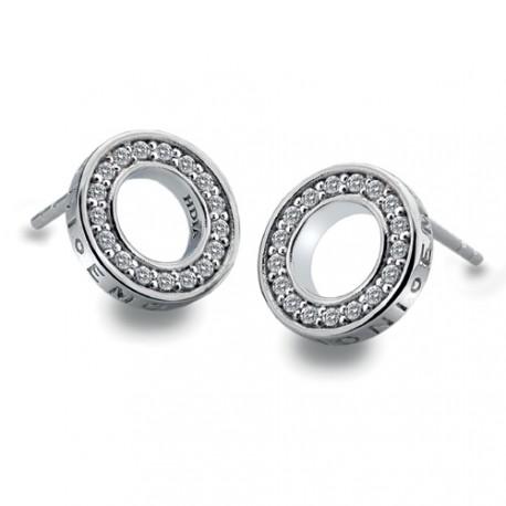 Stříbrné náušnice Hot Diamonds Emozioni Saturno Clear