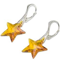 Stříbrné náušnice s krystalem Swarovski Star Topaz