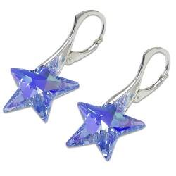 Stříbrné náušnice s krystalem Swarovski Star Sapphire