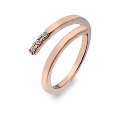 Stříbrný prsten Hot Diamonds Glide Rose Gold