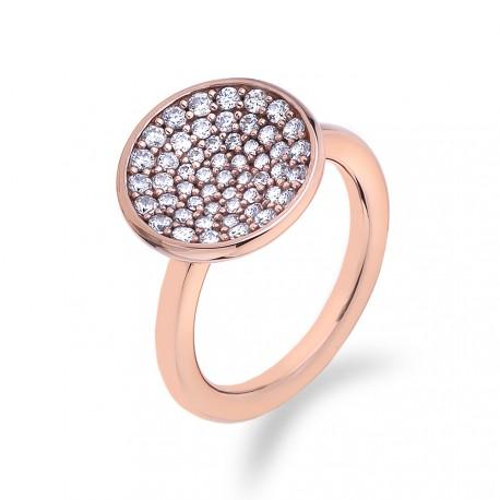 Stříbrný prsten Hot Diamonds Emozioni Scintilla Rose Gold