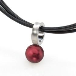 Ocelový přívěsek TeNo Stylish Cultured Dark Red Pearl