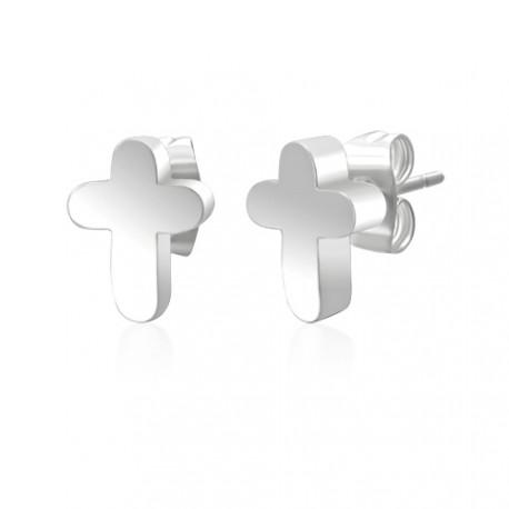Ocelové náušnice - kříž