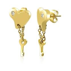 Pozlacené ocelové náušnice se zirkony - srdce a klíč