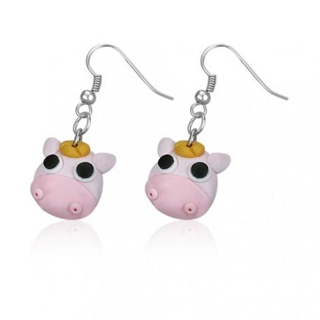 FIMO náušnice - růžová kravička