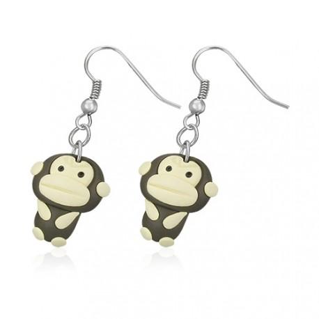 FIMO náušnice - veselá opice