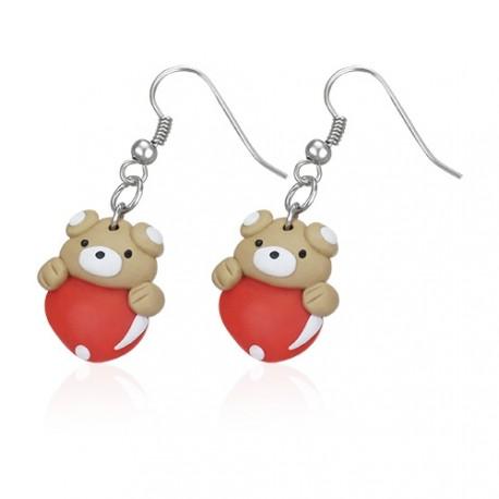 FIMO náušnice - zamilovaný medvídek