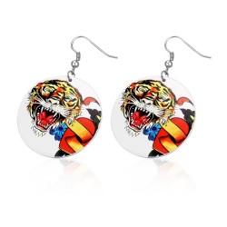 Malované náušnice kruhy - tygr a srdce