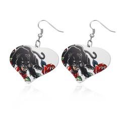 Malované ocelové náušnice ve tvaru srdce - panter