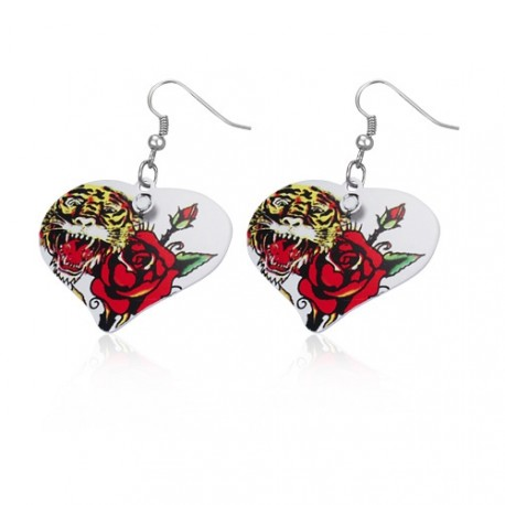 Malované ocelové náušnice ve tvaru srdce - tygr a růže