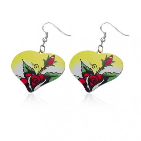 Malované ocelové náušnice ve tvaru srdce - růže