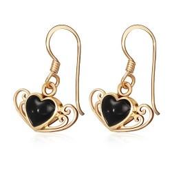 Bronzové náušnice s onyxem - srdce