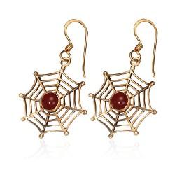 Bronzové náušnice - pavučina