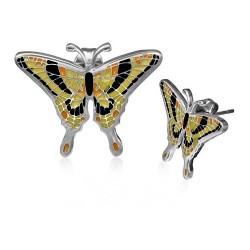 Ocelové náušnice pecky - motýlek