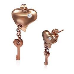 Pozlacené visací náušnice se zirkony - srdce a klíč