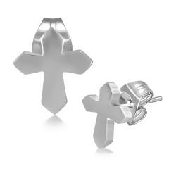 Ocelové náušnice pecky - kříž