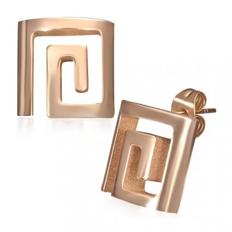 Pozlacené náušnice z chirurgické oceli - řecký klíč
