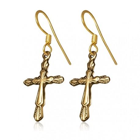Bronzové náušnice - kříž