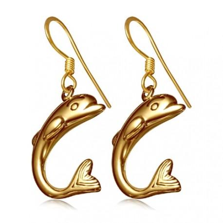 Bronzové náušnice - delfín