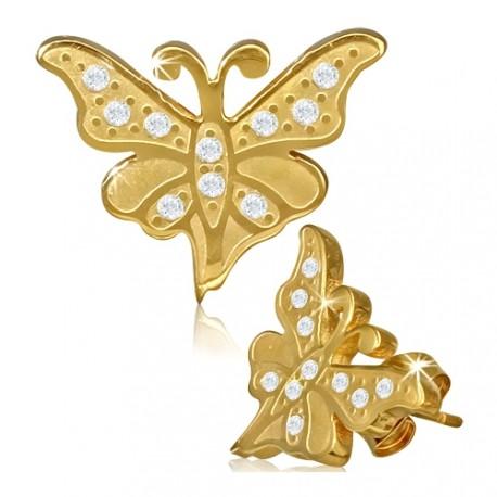 Pozlacené ocelové náušnice se zirkony - motýl
