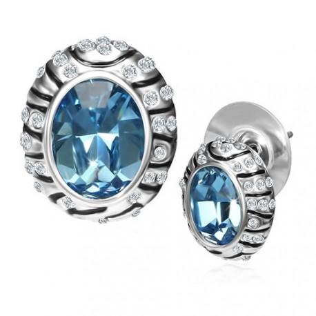 Vintage styl náušnice s povrchem z platiny a modrým krystalem Swarovski