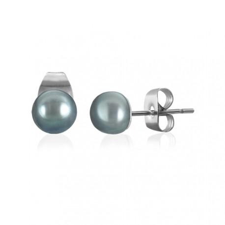 Náušnice z chirurgické oceli s modrým perleťovým korálkem