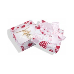 Dárková krabička s mašličkou a srdíčky LOVE bílá