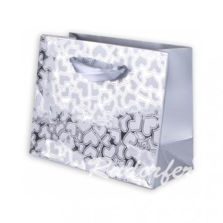 Dárková taška se srdíčky VALENTÝN stříbrná