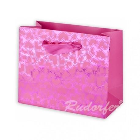 Dárková taška se srdíčky VALENTÝN růžová