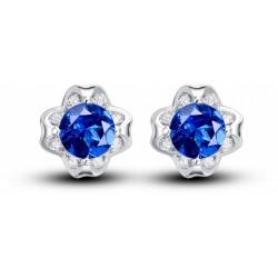 Luxusní stříbrné náušnice s modrým zirkonem
