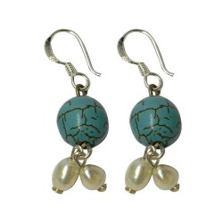 Stříbrné náušnice s perlami a tyrkysem