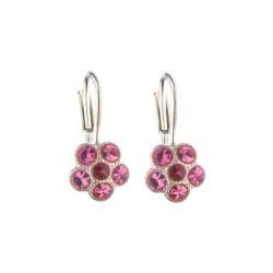 Stříbrné náušnice ve tvaru kytičky osazené růžovými krystaly