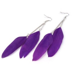 Peříčkové náušnice fialové-11 cm