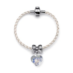 Náramek Oliver Weber Crystal heart - Leather white (crystal)