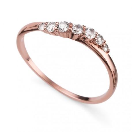Stříbrný prsten Oliver Weber Petite - 63227 (crystal / rosegold)