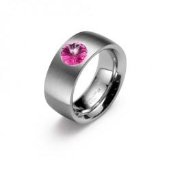 Ocelový prsten Oliver Weber - Phrase Steel 68013 (fuchsia)