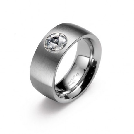 Ocelový prsten Oliver Weber - Phrase Steel 68013 (crystal)